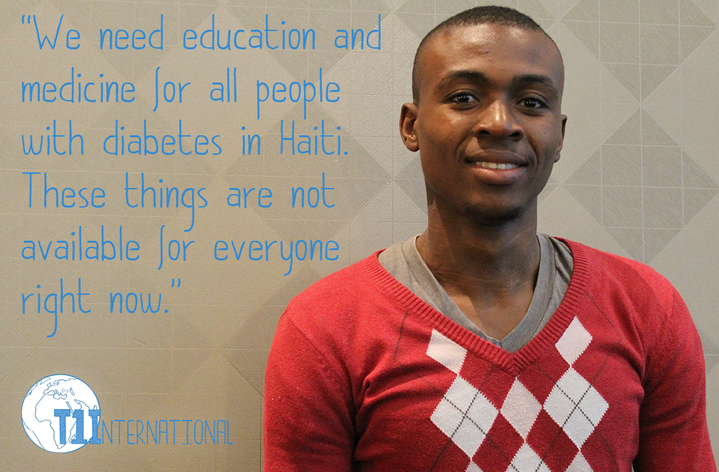 "Amos from Haiti in front of a lite brown backdrop with the words: ""We need education and medicine for all people with diabetes in Haiti. These things are not available for everyone right now."""