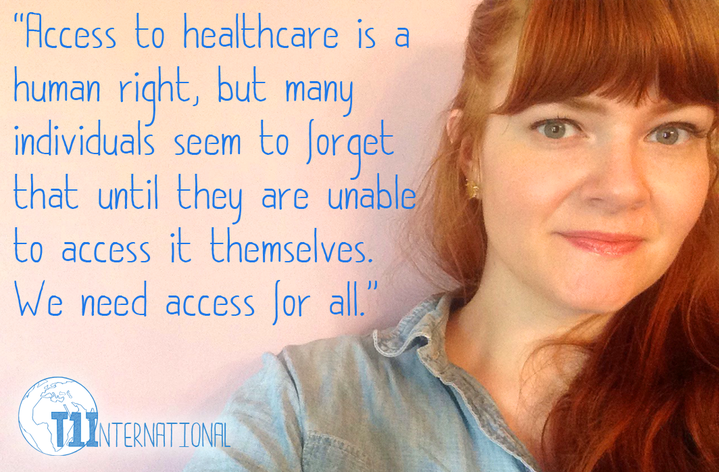 "Erin from USA with pink background and words: ""Access to healthcare is a human right, but many individuals seem to forget that until they are unable to access it themselves. We need access for all."""