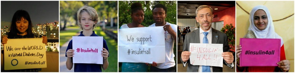 People from around the world hold up #insulin4all signs