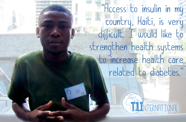 "Widney from Haiti in front of a lite backdrop says: ""Access to insulin in my country, Haiti, is very difficult. I would like to strengthen health systems to increase health care related to diabetes."""
