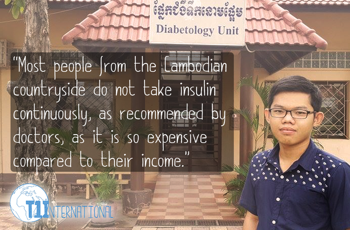 Piseth in Cambodia says: Most people from the Cambodian countryside do not take insulin continuously, as recommended by doctors, as it is so expensive compared to their income.