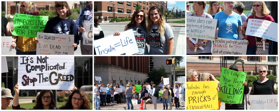 A selection of six photos from the Eli Lilly #insulin4all demonstration, mainly of people holding up signs about the high cost of insulin