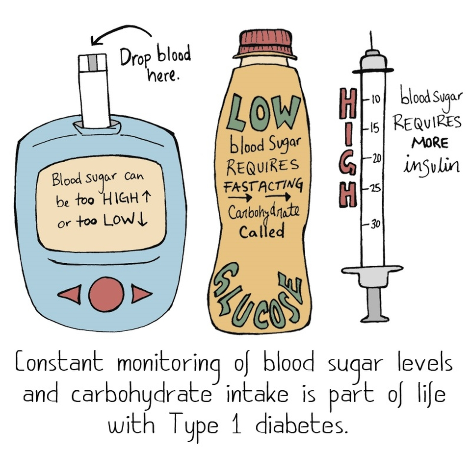 "Cartoon of a glucose meter, glucose bottle and syringe with the words: ""Constant monitoring of blood sugar levels and carbohydrate intake is part of life with type 1 diabetes."""