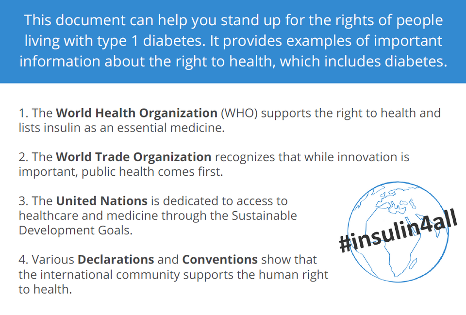 Rights of people living with type 1 diabetes document, World Health Organization, World Trade Organization, United Nations and various declarations and conventions supporting human rights to health