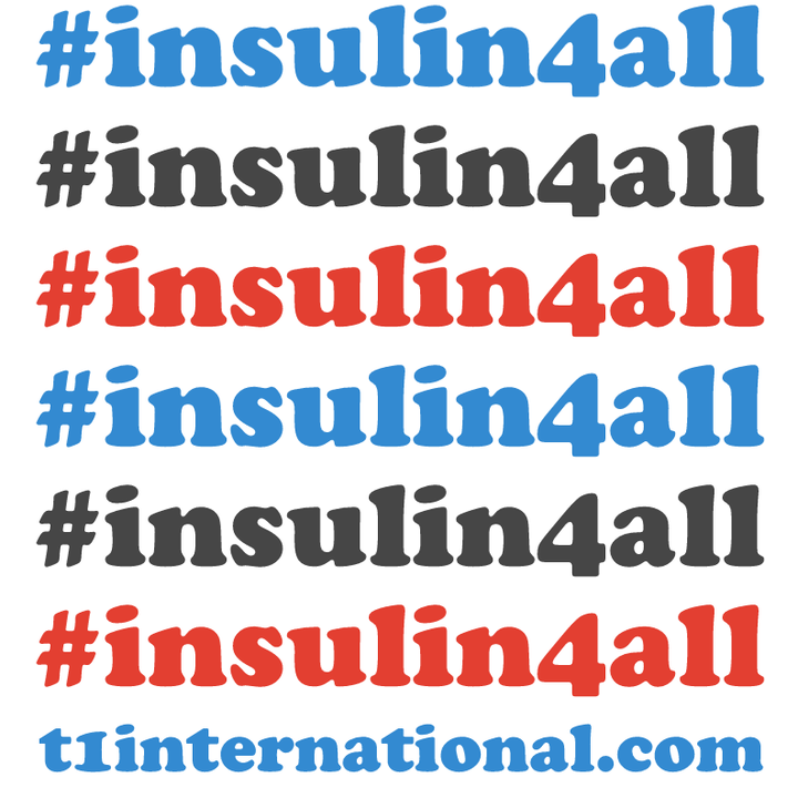 graphic with the words #insulin4all repeating in blue, red and grey