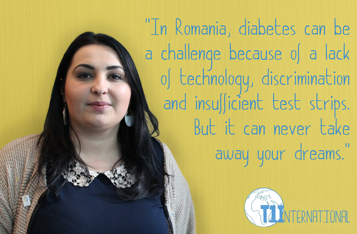 Cristina in Romania says: ''In Romania, diabetes can be a challenge because of a lack of technology, discrimination and insufficient test strips. But it can never take away your dreams.''