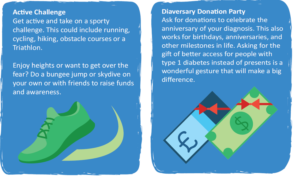 Active Challenge: Do a bungee jump or skydive on your own or with friends to raise funds and awareness. Diaversary Donation Party: Ask for donations to celebrate the anniversary of your diagnosis.