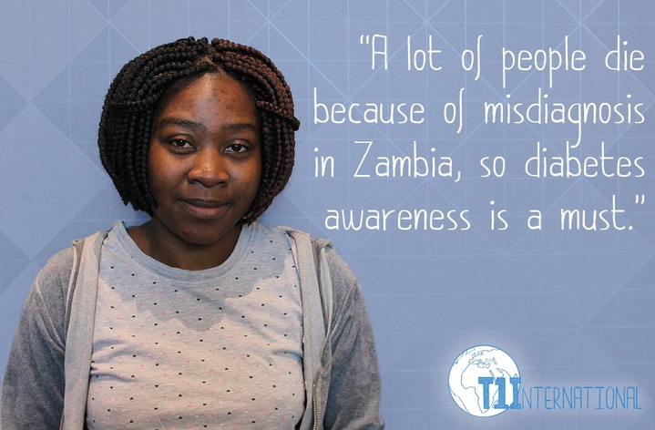 Florence in Zambia says: A lot of people die because of misdiagnosis in Zambia, so diabetes awareness is a must.