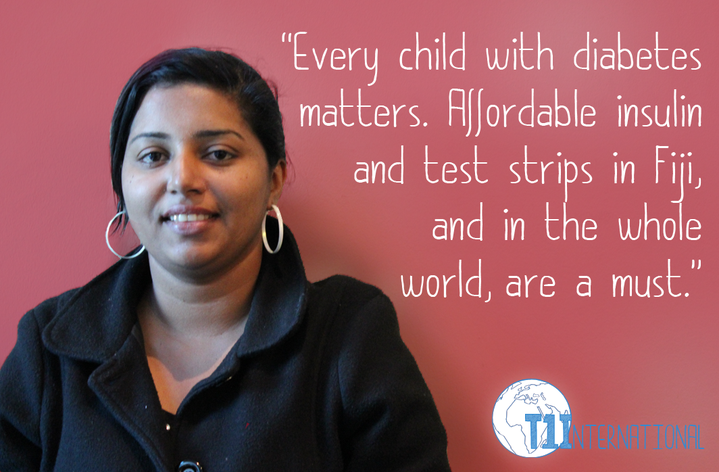 Shivanjani in Fiji says: Every child with diabetes matters. Affordable insulin and test strips in Fiji, and in the whole world, are a must.