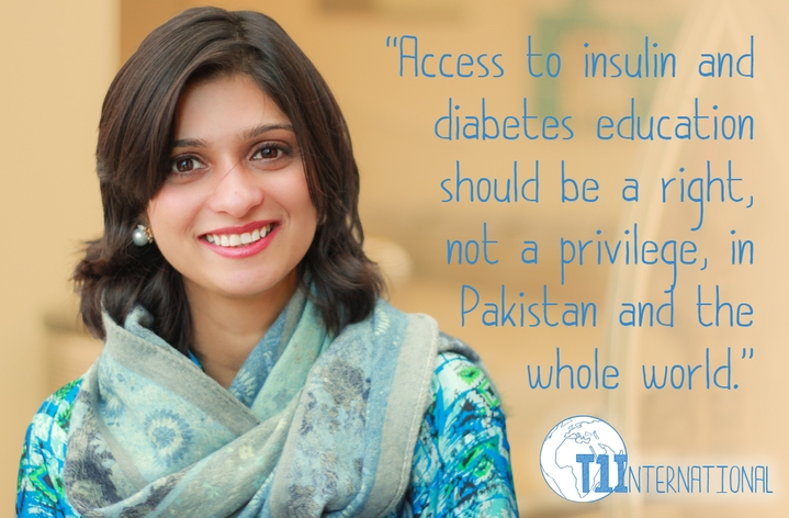 "Sana from Pakistan in front of lite background with the words: ""Access to insulin and diabetes education should be a right, not a privilege, in Pakistan and the whole world."""