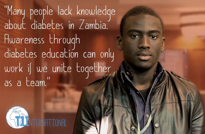 "Chipimo from Zambia standing against a brown background: ""Many people lack knowledge about diabetes in Zambia. Awareness through diabetes education can only work if we unite together as a team."""