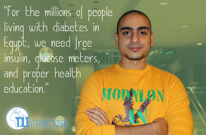 Mohamed in Egypt says: For the millions of people living with diabetes in Egypt, we need free insulin, glucose meters, and proper health education.