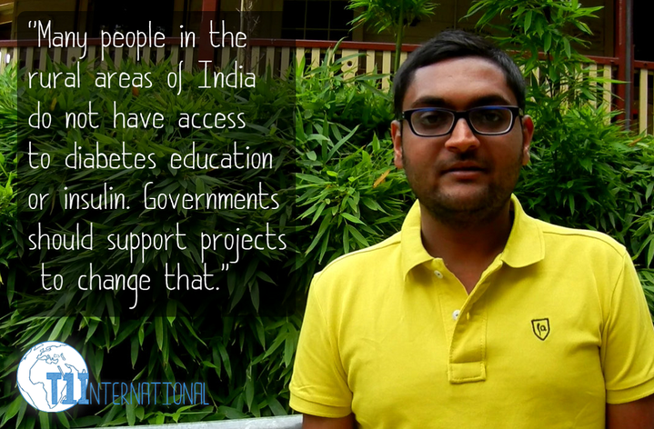 "Binit from India in front of building with plants: ""Many people in the rural areas of India do not have access to diabetes education or insulin. Governments should support projects to change that."""