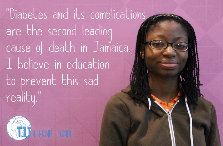 Peidra in Jamaica says: ''Diabetes and its complications are the second leading cause of death in Jamaica. I believe in education to prevent this sad reality.''